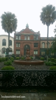 Red brick bldg and fountain