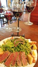 St Clair Wine flight with salade nicoise