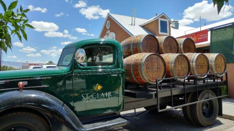 St Clair Winery truck and barrels